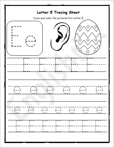Letter E Tracing Writing Practice Worksheet Englishbix