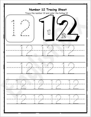 Number 12 Tracing Preschool Worksheet   EnglishBix